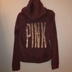 Victoria's Secret PINK maroon sequin zip up hoodie